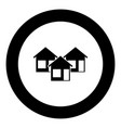 three house icon black color in circle vector image