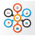 Trade flat icons set collection of payment pie vector image