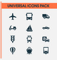 Transportation icons set collection of skooter