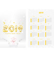 two-sided calendar for the new year 2019 with vector image vector image