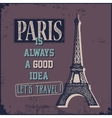Vintage Touristic Greeting Card - Paris vector image vector image