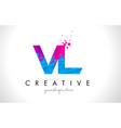 vl v l letter logo with shattered broken blue vector image