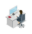 woman working at computer isometric 3d icon vector image vector image