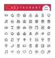 restaurant line icons set vector image