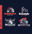 motorcycle shield emblem logo design vector image