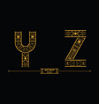 alphabet art deco style in a set yz vector image
