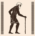 ancient greek old man with a staff vector image