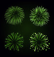beautiful green fireworks set bright fireworks vector image vector image
