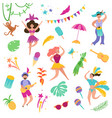 brazil carnival festive set dancing characters vector image