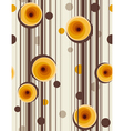 Brown stripes and abstract yellow roses - Seamless vector image vector image