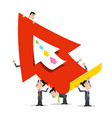 business men holding big red paper arrow vector image