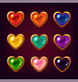 cartoon colorful heart gemstones vector image vector image