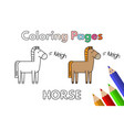 cartoon horse coloring book vector image vector image