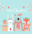 christmas card with animals hand drawn style vector image vector image