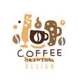 coffee hand drawn original logo design with mugs vector image vector image