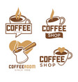 coffee shop promotional emblems with cups and vector image