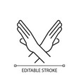 crossed arms stop gesture linear icon