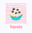cupcake with cream and blueberry vector image