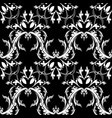 damask baroque floral seamless pattern black vector image