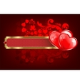 Design with a rectangular frame and two hearts vector image vector image