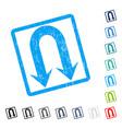 double back arrow icon rubber watermark vector image vector image