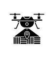 drone mapping black glyph icon vector image vector image