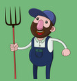 farmer with pitchfork vector image