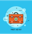 first aid kit or bag with medicines vector image