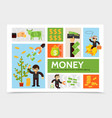 flat cash and currency infographic template vector image vector image