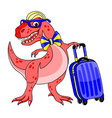 funny dinosaur with a suitcase vector image