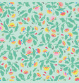 green folk art floral pattern vector image