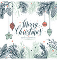 greeting card mery christmas with pine and vector image vector image