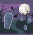 halloween cemetery scenery vector image vector image