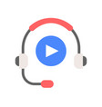 headphone and play button technology and vector image vector image