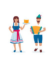 man and woman in traditional german costumes vector image vector image