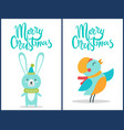 merry christmas bird and bunny vector image vector image
