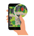 mobile gps navigation on phone with map vector image vector image
