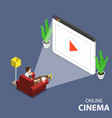 online home movie theatre flat isometric vector image vector image