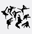 People breakdance silhouettes vector image vector image