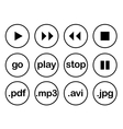 Play button or flat black web icon set on white vector image