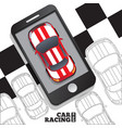 racing cars in form a mobile application vector image vector image