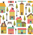 seamless pattern with houses on white background vector image vector image