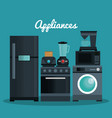set home appliances icons vector image vector image