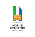 sierra leone mobile operator sim card with flag vector image vector image