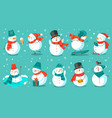 snowman cheerful christmas snowmen in different vector image