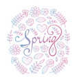 spring lettering in floral pattern round frame vector image vector image