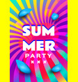 summer party poster template rainbow background vector image vector image
