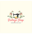 tailor sewing vintage fashion floral retro logo vector image vector image