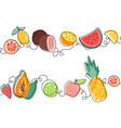 top and bottom seamless fruit patterns on white vector image