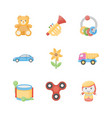 toys for kids flat icons vector image vector image